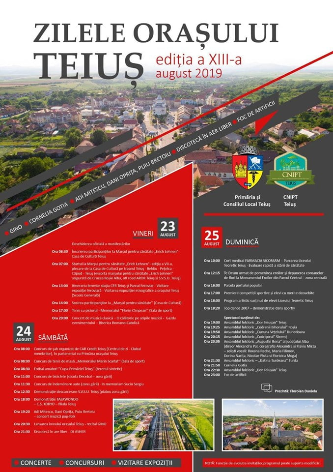 23-25 august: Zilele orașului Teiuș. PROGRAMUL evenimentului