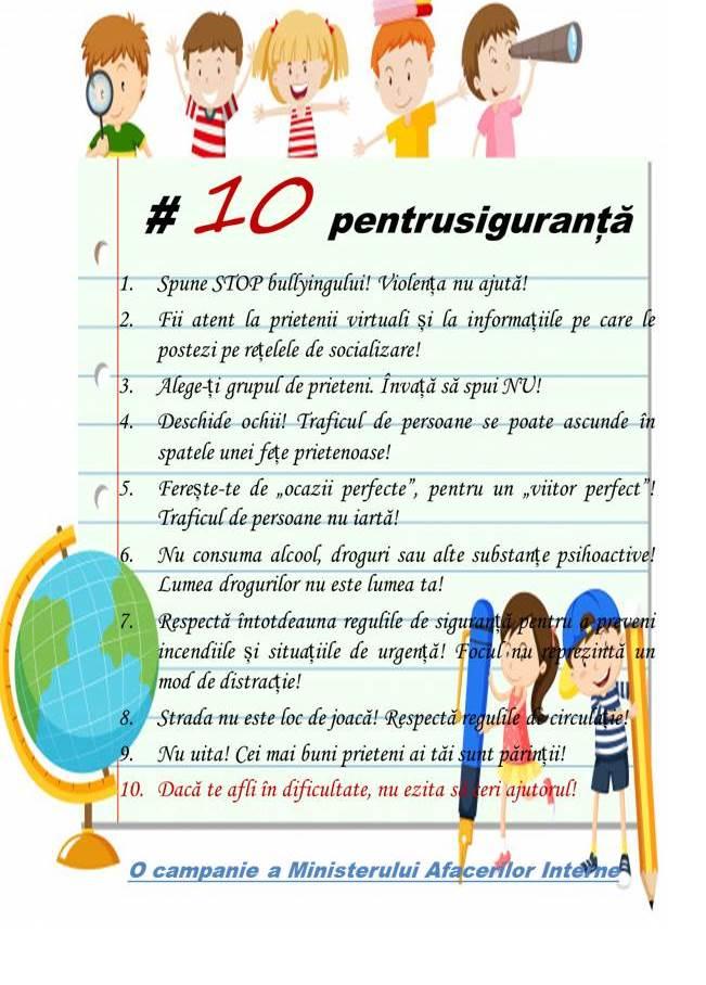 #10 Pentru Siguranță, campanie dedicată siguranței elevilor