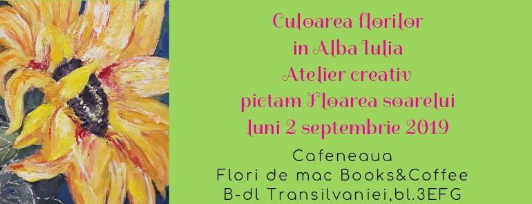 """ASTĂZI: Atelier de pictură """"Floarea Sorealui"""", la Books & Coffee Alba Iulia"""