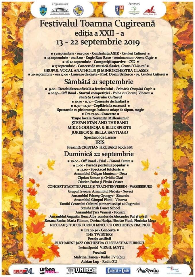 20-22 septembrie: Festivalul Toamna Cugireană. Programul evenimentului