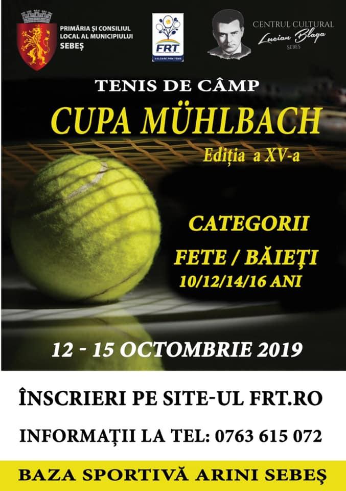 12-15 octombrie: CUPA MÜHLBACH LA TENIS DE CÂMP, ediția a XV-a, în Parcul Arini din Sebeș