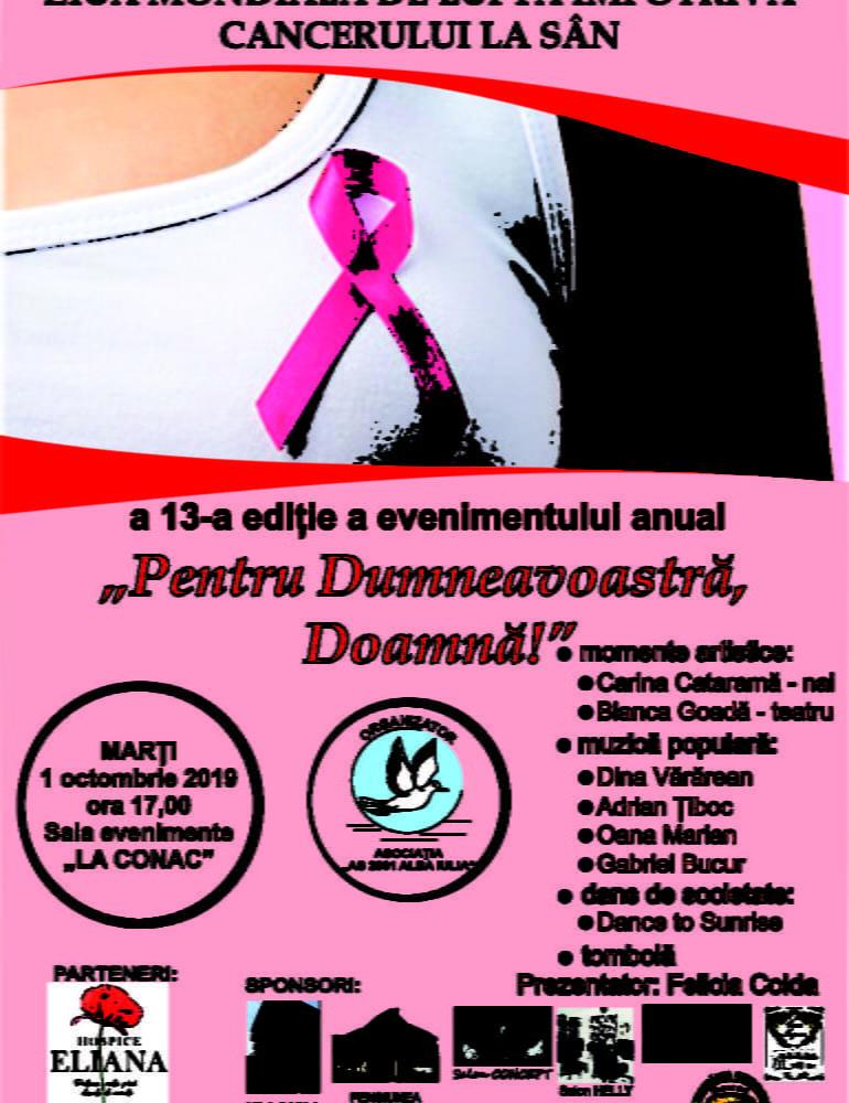 """Marți: """"Pentru Dumneavoastră, Doamnă!"""" Ziua Mondială de luptă împotriva cancerului de sân marcată la Alba Iulia"""