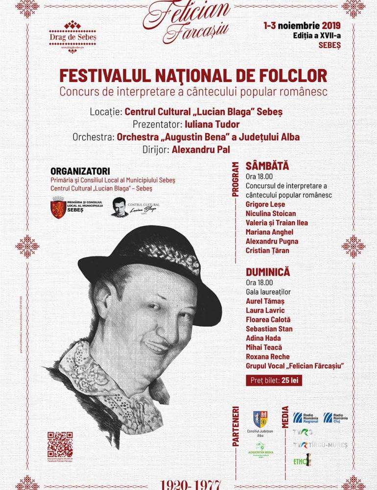 """1-3 noiembrie: A XVII-a ediție a Festivalului Naţional de Folclor """"Felician Fărcaşiu"""", la Sebeș. PROGRAM"""