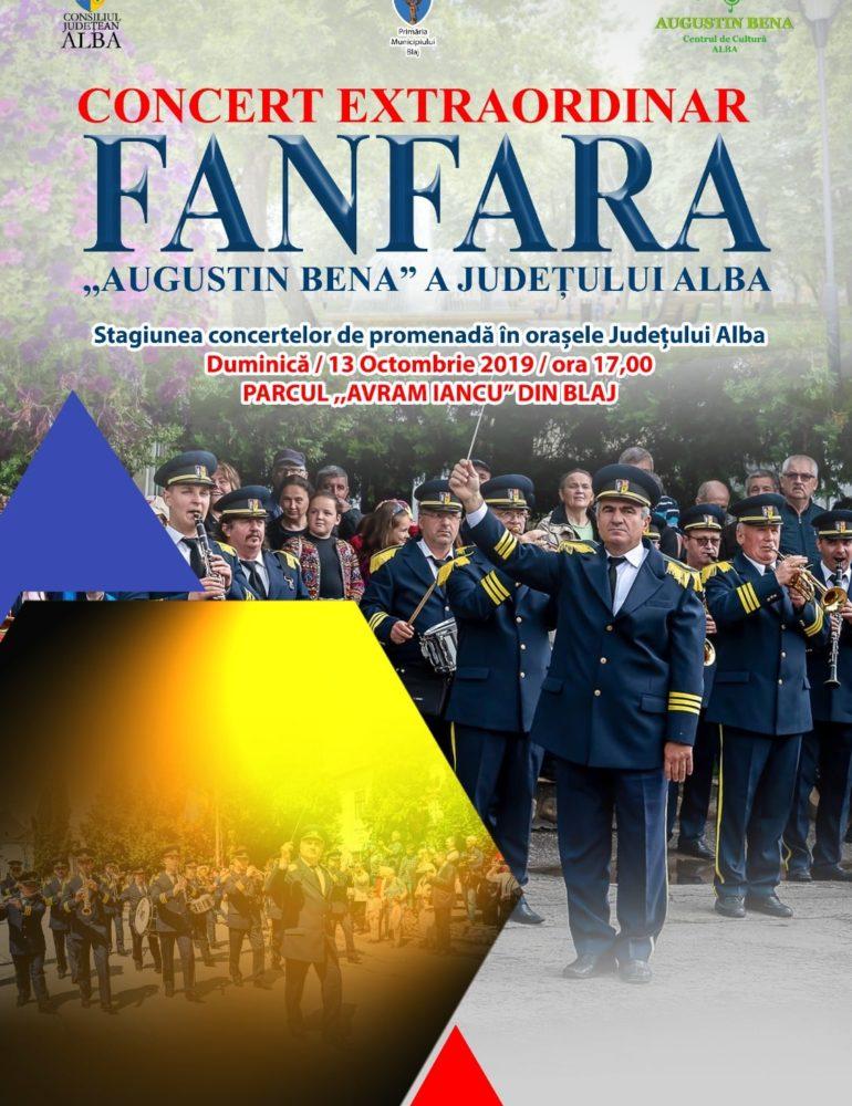 """Duminică: Fanfara """"Augustin Bena"""" a județului Alba continuă stagiunea concertelor de promenadă"""