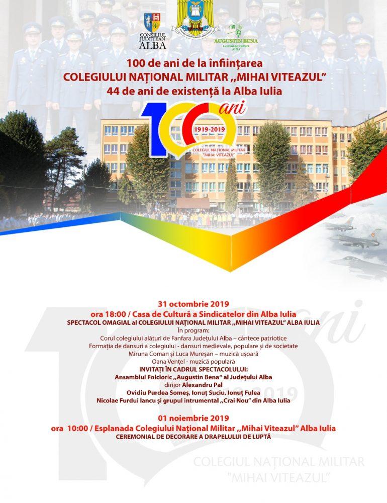 """JOI: Spectacol omagial cu ocazia Centenarului Colegiului Naţional Militar """"Mihai Viteazul"""""""