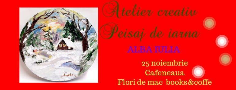 """Luni: """"Frumusețea iernii"""" la atelierul de pictură de la Flori de mac Books & Coffee."""