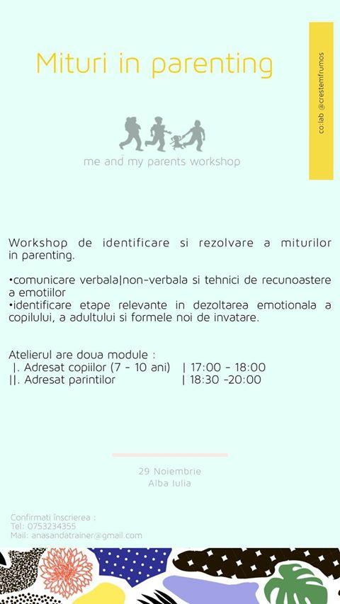 """29 noiembrie: Atelier Mituri în parenting, la Centrul """"Creștem Frumos"""" Alba Iulia"""