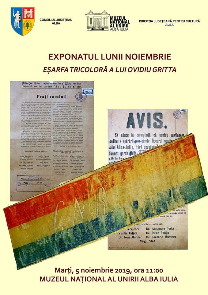 Marți: Exponatul lunii noiembrie 2019, la Muzeul Național al Unirii din Alba Iulia