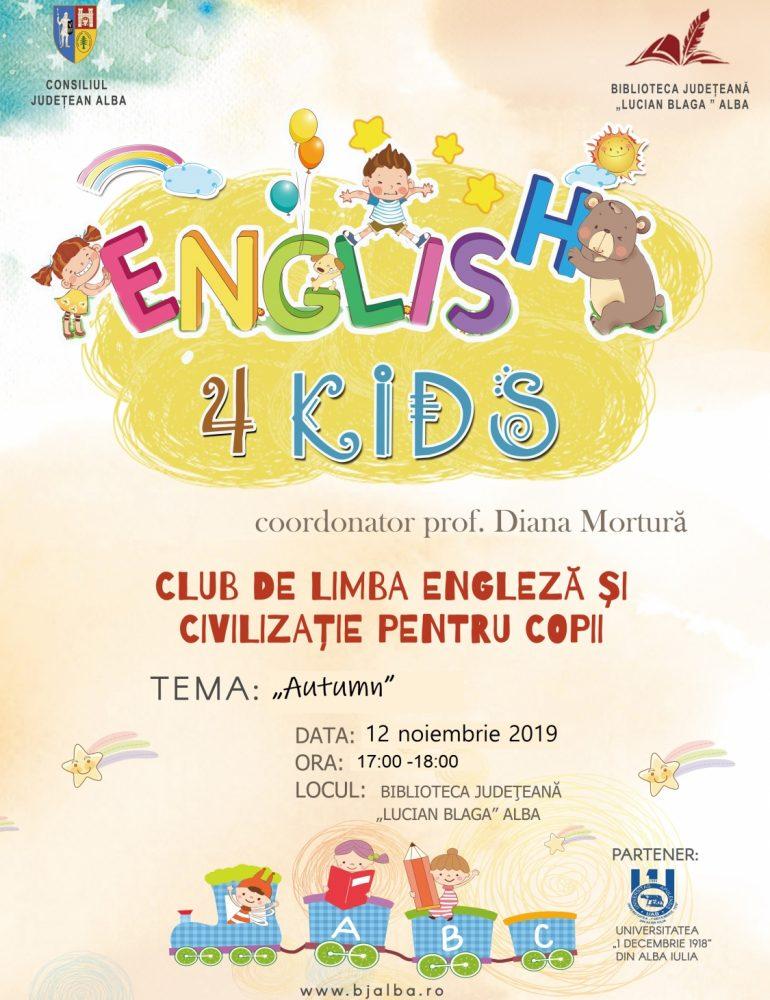 """English 4 Kids – o nouă întâlnire la Biblioteca Judeţeană """"Lucian Blaga"""" Alba"""