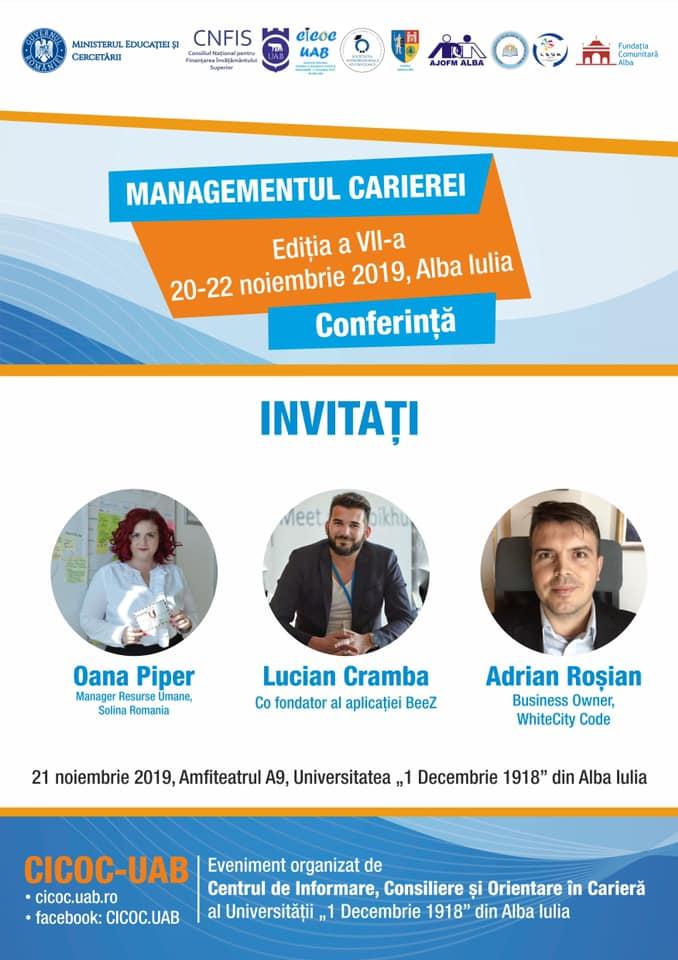 """20-22 noiembrie: A VII-a ediție a Conferinței """"MANAGEMENTUL CARIEREI"""", la UAB"""