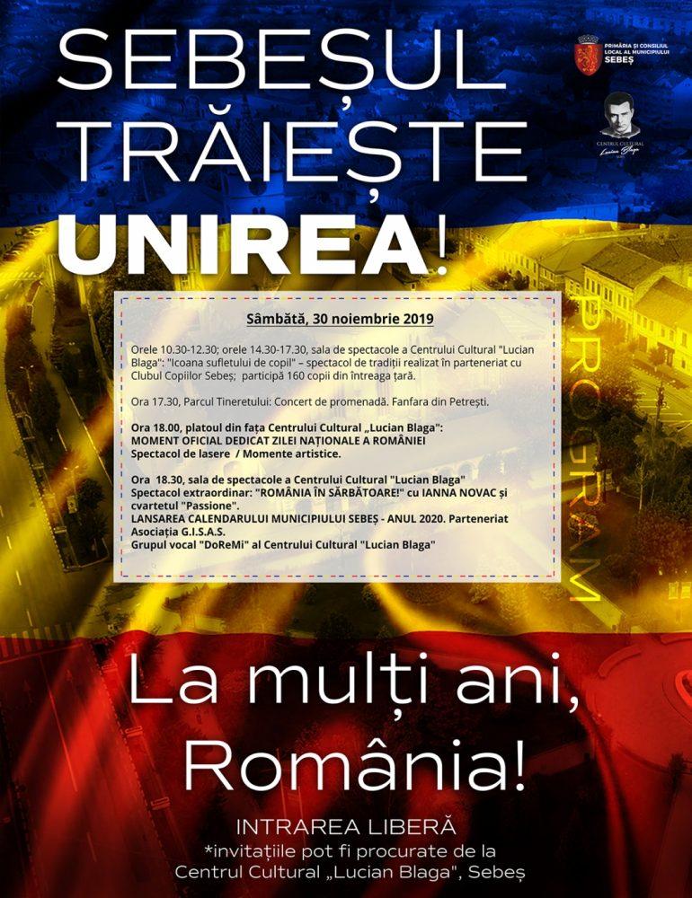 Programul evenimentelor prilejuite de Ziua Națională a României, la Sebeș