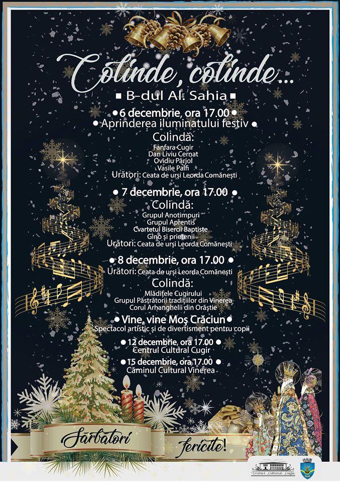 Aprinderea luminițelor și deschiderea Târgului de Crăciun, în ziua de Moș Nicolae, la Cugir