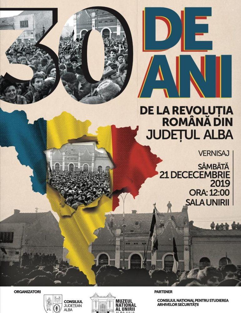 """Sâmbătă: Expoziția """" 30 de ani de la Revoluția Română în județul Alba"""", la Sala Unirii"""