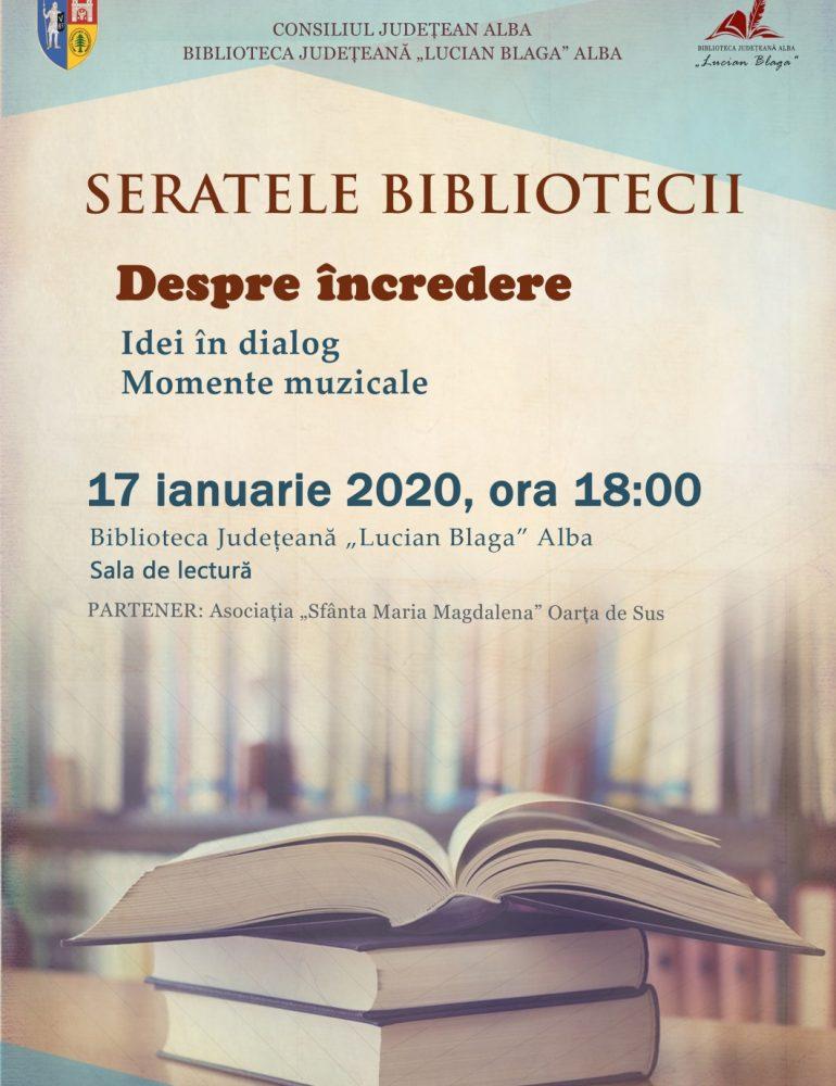 """""""Despre încredere""""  este tema primei întâlniri din acest an a Seratelor Bibliotecii Judeţene """"Lucian Blaga"""" Alba"""