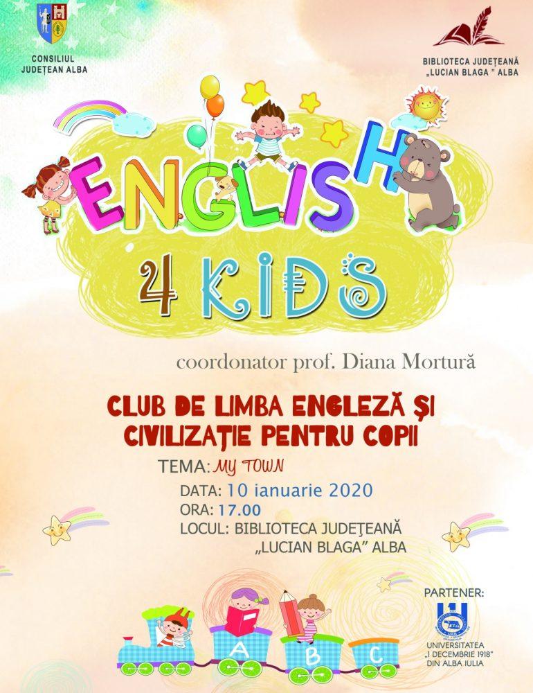 """Proiectul """"English 4 Kids"""" continua la Biblioteca Județeană """"Lucian Blaga"""" Alba și în 2020"""