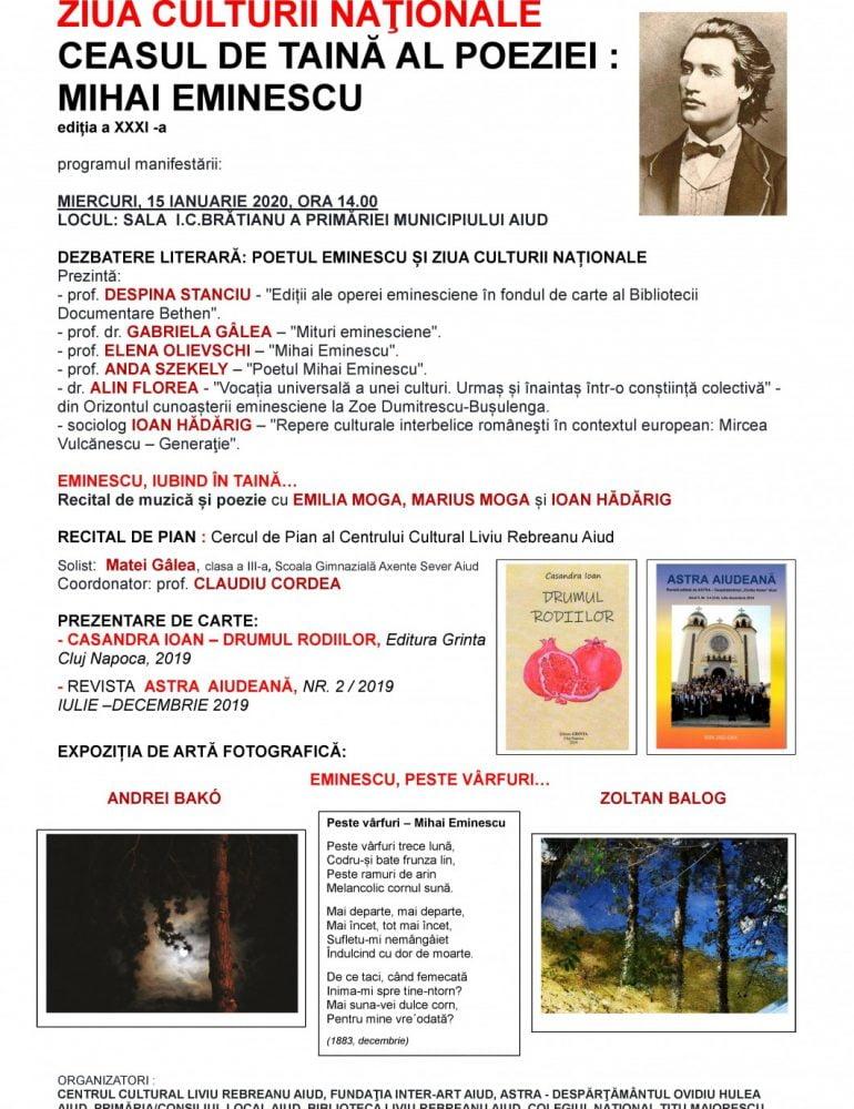 """Miercuri: """"Ceasul de taină al poeziei: Mihai Eminescu"""", ediţia a XXXI-a, la Aiud. Programul manifestării"""