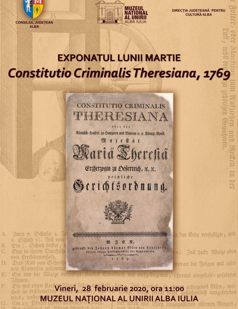 Exponatul Lunii Martie, la Muzeul Unirii – Constitutio Criminalis Theresiana, 1769