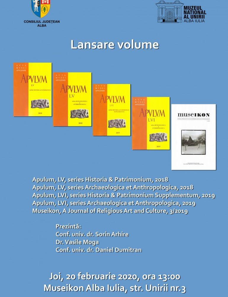 Joi: Muzeul Național al Unirii Alba Iulia lansează patru volume de istorie și arheologie