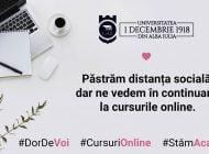 """Cursuri online la Universitatea """"1 Decembrie 1918"""" din Alba Iulia, pe toată perioada de instituire a stării de urgență"""