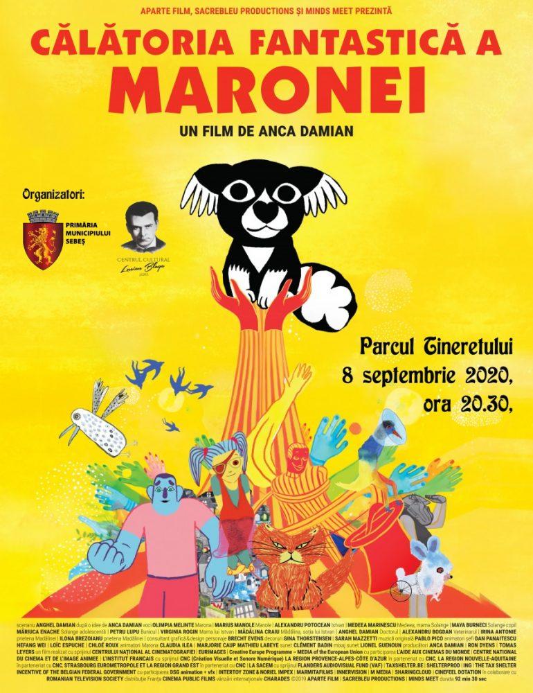 """Marți: Proiecția filmului de animație """"Călătoria fantastică a Maronei"""", o poveste pentru întreaga familie, în Parcul Tineretului din Sebeș"""