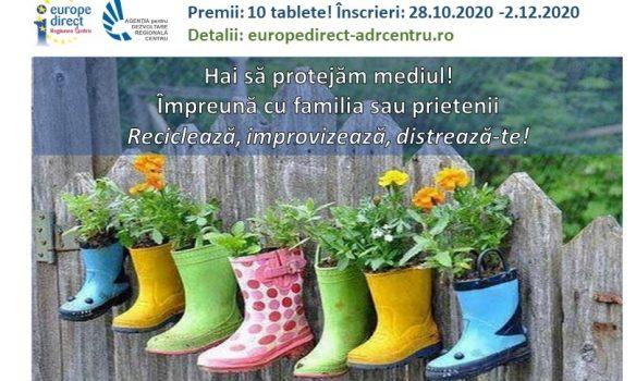 Hai să protejăm mediul! Reciclează, improvizează, distrează-te! Competiție de creativitate cu premii, pentru educație online