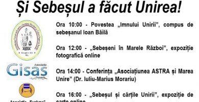 """""""Și Sebeșul a făcut Unirea!"""", eveniment online dedicat Zilei Naționale a României"""