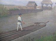 """Exponatul lunii februarie, la muzeul din Sebeș: tabloul """"Plutaş român pe râul Sebeş"""",  de Hermann Meuselbach (1858-1924)"""