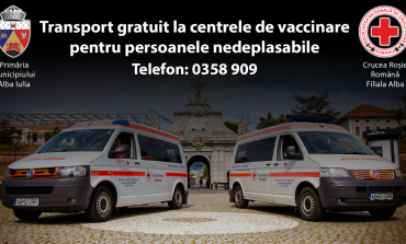 Transport gratuit cu ambulanța la centrele de vaccinare, asigurat de Primăria municipiului Alba Iulia prin Crucea Roșie
