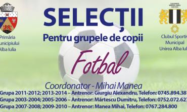 Selecții în vederea inițierii și perfecționării în fotbal la Alba Iulia