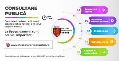 Municipiul Sebeș își consultă cetățenii pentru elaborarea strategiei de dezvoltare 2021-2027