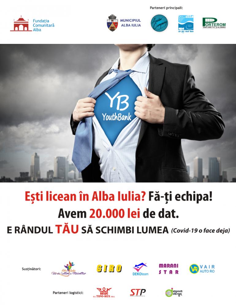 Până la 20 mai, Fondul YouthBank de 20.000 lei este la dispoziția liceenilor care studiază în Alba Iulia și vor să se implice în comunitate