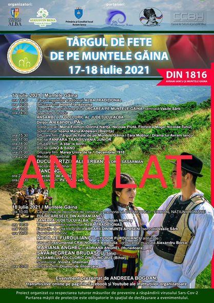 Din cauza vremii nefavorabile, anulăm Târgul de Fete de pe Muntele Găina pentru a nu pune în pericol viața participanților