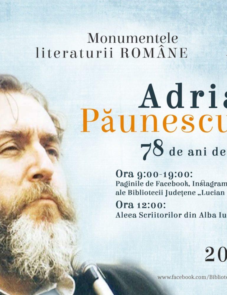 """Adrian Păunescu omagiat la Alba Iulia de Biblioteca Județeană """"Lucian Blaga"""" Alba"""