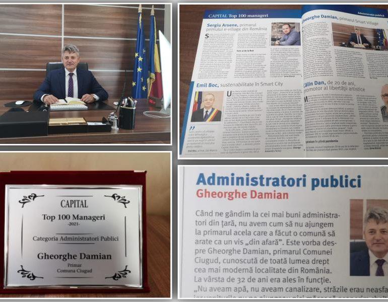 """Primarul Comunei Ciugud, Gheorghe Damian, desemnat managerul public al anului în """"Top 100 Manageri"""" realizat de revista Capital"""